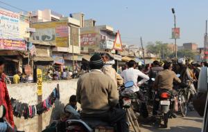 Stuck in traffic, India