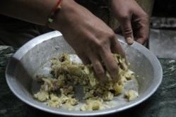 Mixing paratha filling
