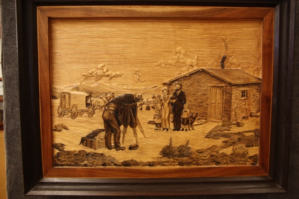 Wood carving of SD Butcher at work