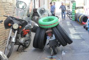 Delivering tyres, Tehran, Iran