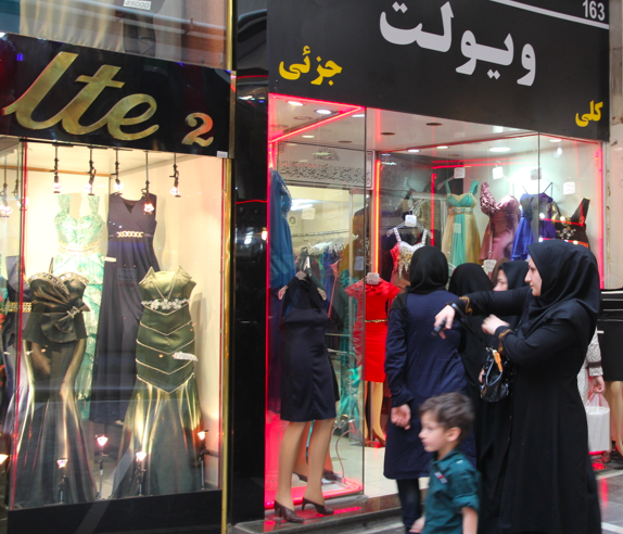 Evening gowns, Tehran bazaar