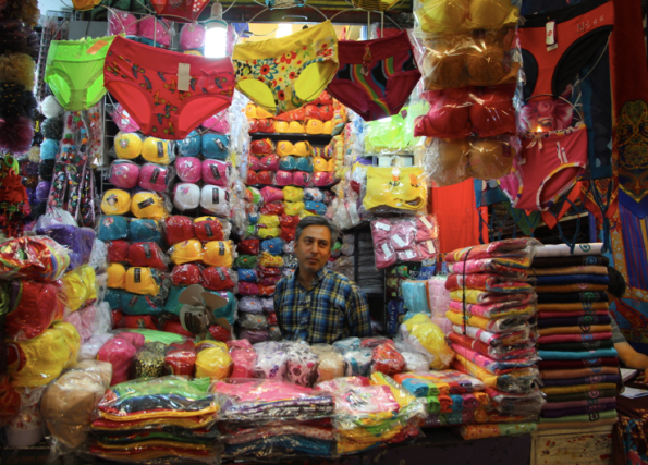 Undies and knitting wool, Tehran bazaar