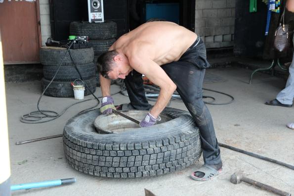 Work on tyre