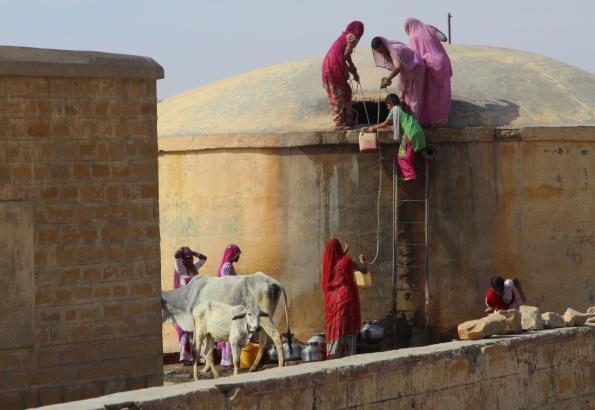 gathering water, Thar Desert