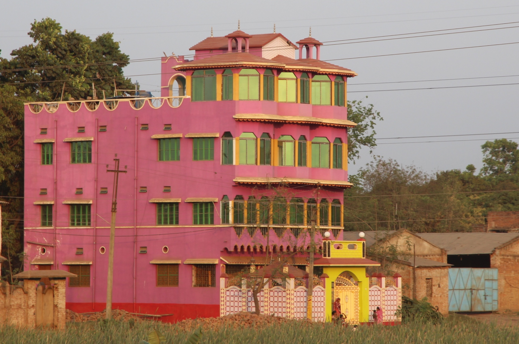 pink yellow house