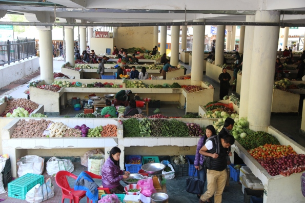 birdseye of Bhutan market