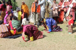 Bowing to the king, Bhutan