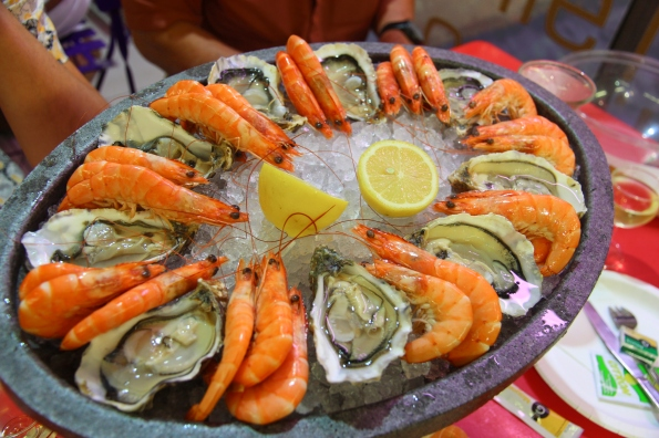 Prawns and oysters