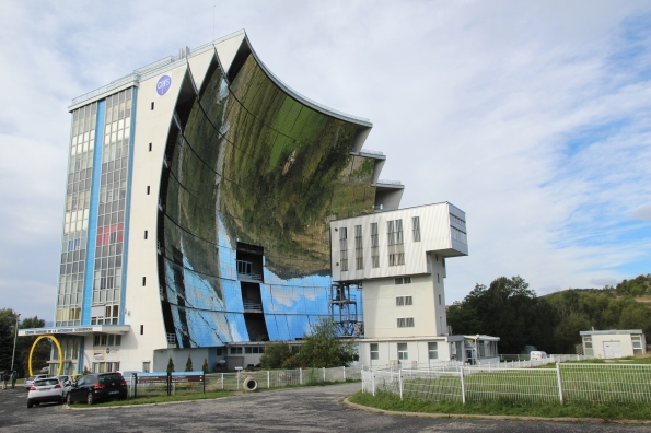 large mirror structure at solar furnace, France
