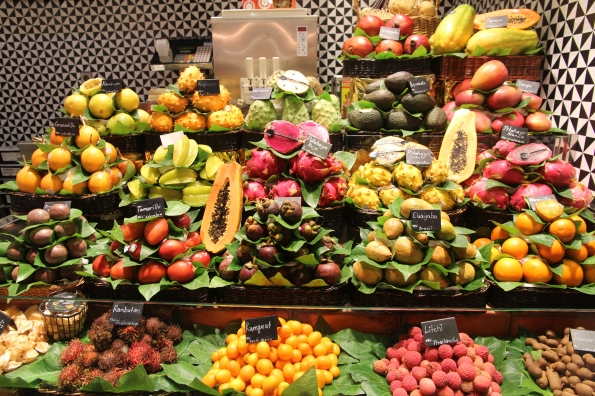 Barcelona market exotic fruits