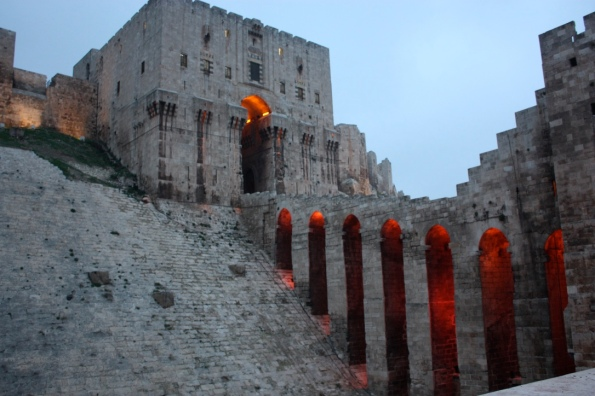 Aleppo citadel entrance at night
