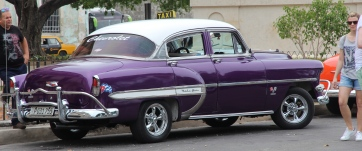 Vintage car, Cuba, purple and white
