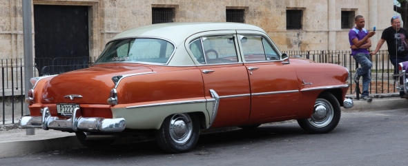 Vintage car, Cuba, orange and white