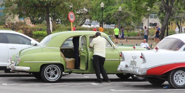 Green vintage car, Cuba