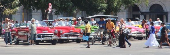 Row of vintage cars in Cuba