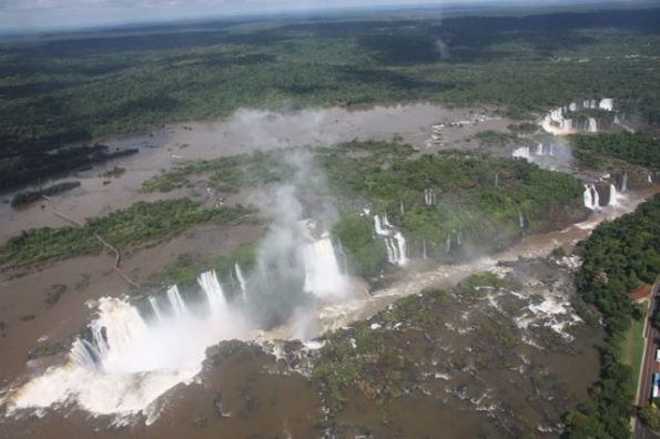 A long stretch of Iguazu Falls