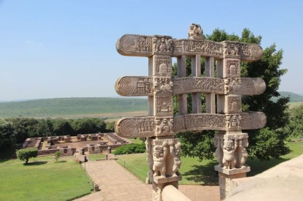 stupa gate with monastery sanchi