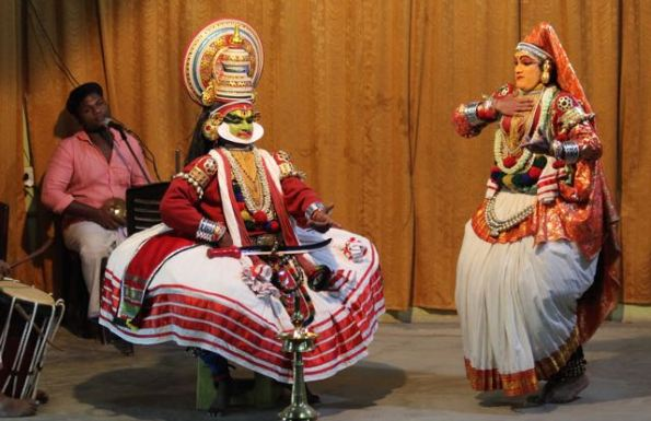 Kathakali performance—Lalitha approaches Jayantha