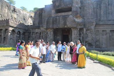 in front of Kailasha Temple, Ellora Caves