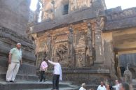 Sculptures and tourists, Ellora Caves