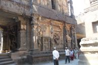More sculptures and tourists, Ellora Caves