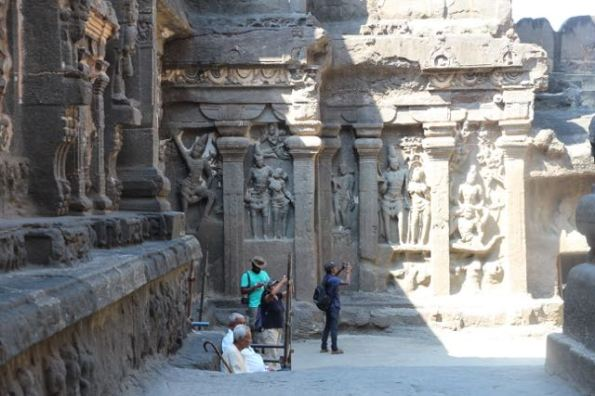 Walking around Kailasha Temple,