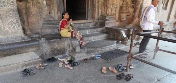 Shoes off at Kailasha Temple