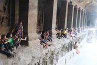School group at Kailasha Temple, Ellora Caves