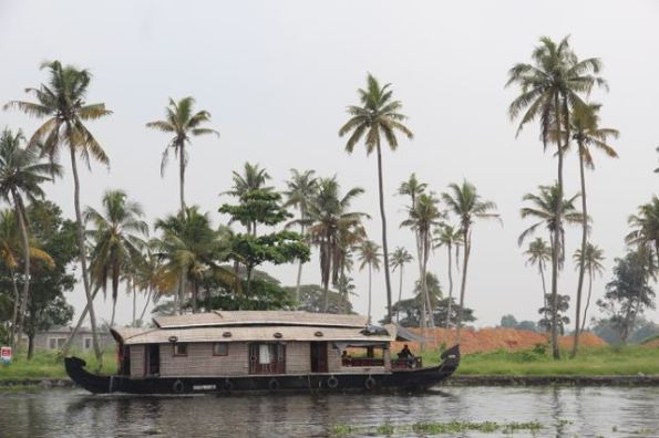 Kerala houseboat with palms