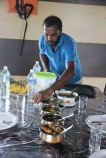 Serving lunch on the houseboat