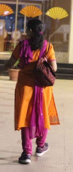 Pink and orange sari