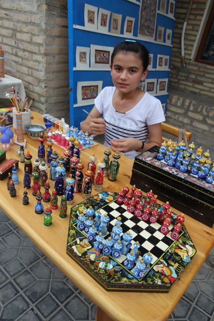 Painting chess pieces, Uzbekistan