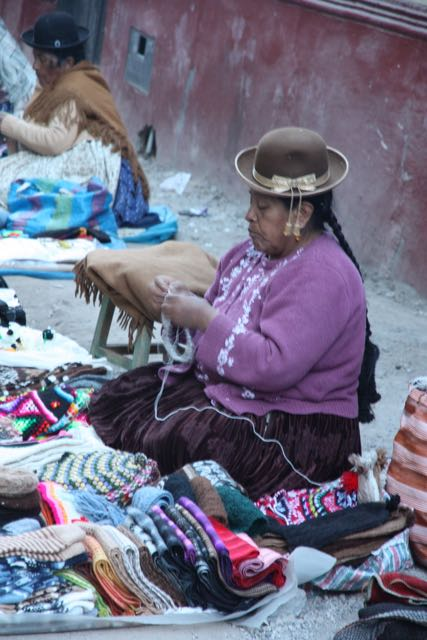 Selling textiles, Bolivia