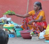 Selling temple offerings, India
