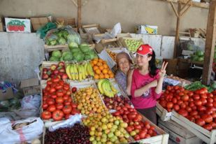 Selling produce, Kyrgyzstan