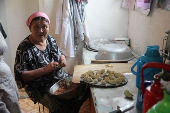 Cooking dumplings, Mongolia