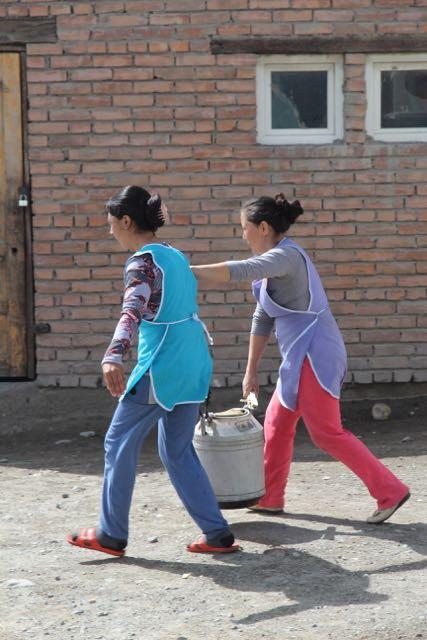Carrying milk, Kyrgyzstan