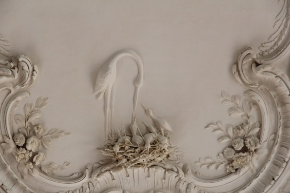 Rundāle Palace, White Hal, stork on ceiling