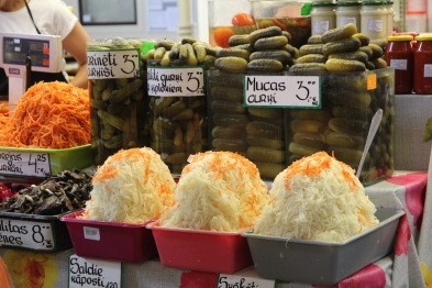 Riga market, cabbage and pickles