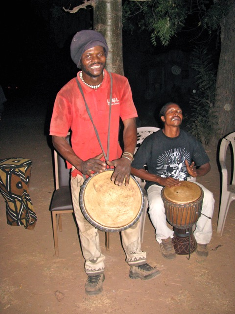 Malian drummer in red