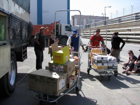 Trolleys of food
