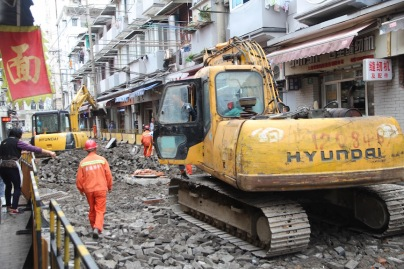 Road works, China