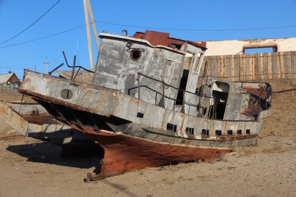 Boat at Olkhon Island