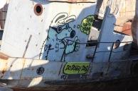 Dog on boat, Olkhon Island