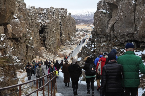 Tourist walk, Þingvellir National Park, Iceland