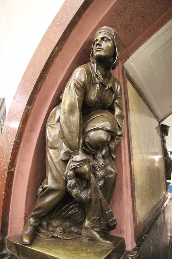 Sculpture at Ploschad Revolyutsii station, Moscow