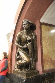 Sculpture at Ploschad Revolyutsii station, Moscow