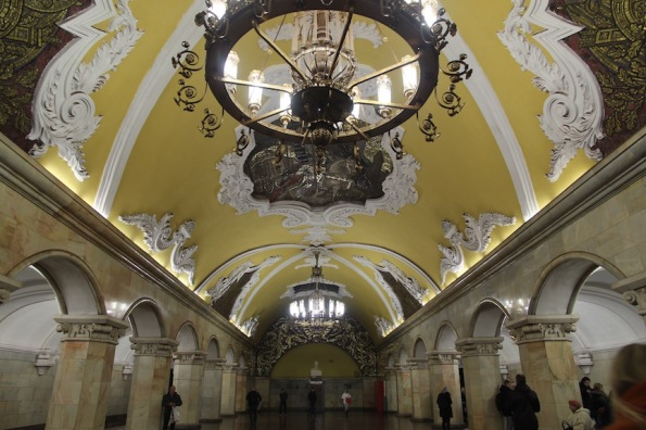 Ceiling at Komsomolskaya station, Moscow