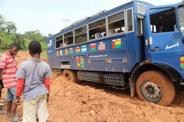 Truck stuck in mud Ghana West Africa