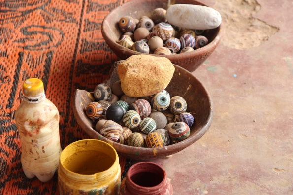 Bowls of handmade beads, Ivory Coast